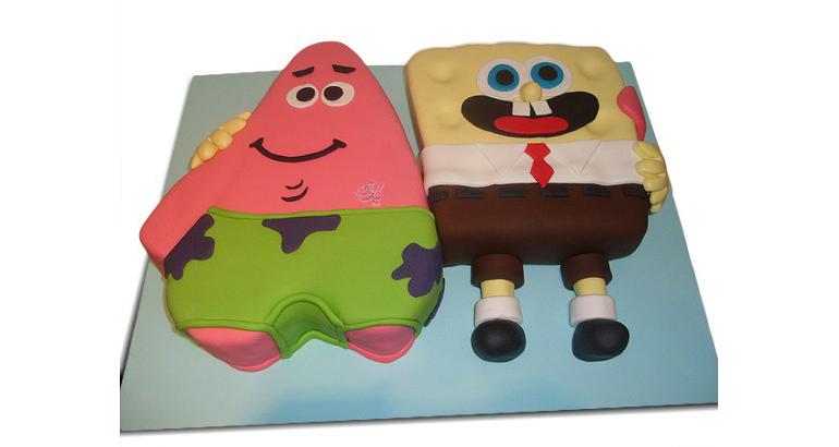 کیک تولد کارتونی باب اسفنجی و پاتریک