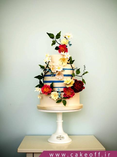 کیک طرح گل