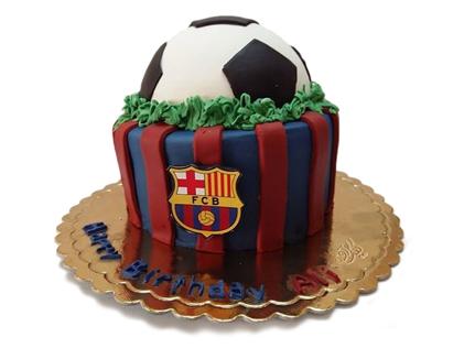 کیک تولد پسرانه - کیک تولد فوتبالی بارسلونا | کیک آف