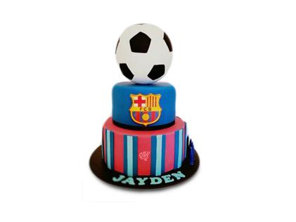 کیک تولد پسرانه-کیک تولد فوتبالی بارسلونا 3 | کیک آف