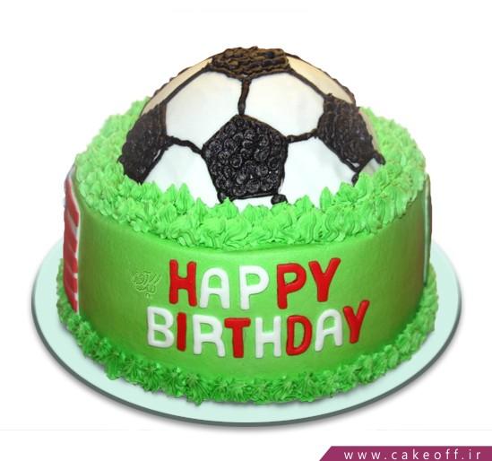 کیک تولد فوتبالی توپ در چمن