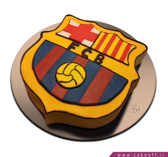 کیک تولد پسرانه - کیک تولد فوتبالی پرچم بارسلونا | کیک آف