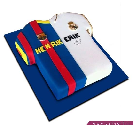 کیک فوتبالی پیراهن بارسورئال