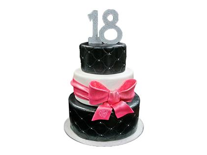 خرید آنلاین کیک - کیک تولد سیاه و سفید | کیک آف