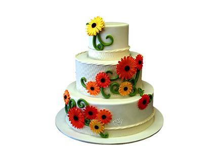 سفارش کیک عروسی - کیک عقد و عروسی گل مینا | کیک آف