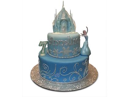 سفارش کیک تولد - کیک تولد دخترانه السا و قلعه یخی | کیک آف
