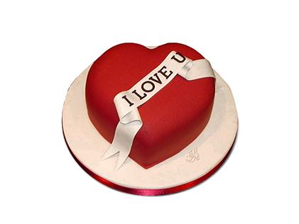 خرید آنلاین کیک در اصفهان - کیک فوندانت قلب قرمز | کیک آف