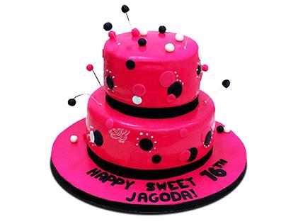 خرید آنلاین کیک - کیک دخترانه خال خالی | کیک آف