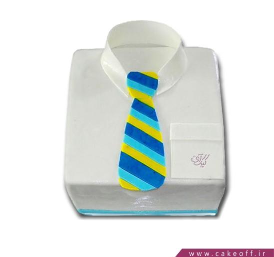 سفارش کیک فوندانتی - کیک تولد مردانه پیراهن و کراوات | کیک آف