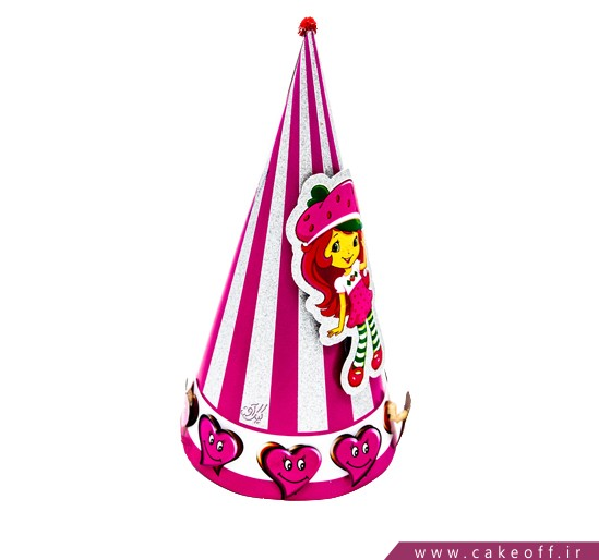 کلاه تولد دخترانه -کلاه بوقی برجسته دختر توت فرنگی | کیکآف