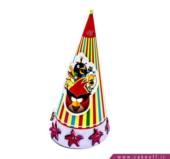 کلاه تولد کودک - کلاه تولد بوقی انگری برد راه راه | کیکآف