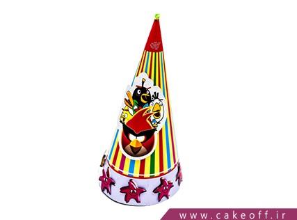 کلاه تولد کودک - کلاه تولد انگری بردز طرح راه راه | کیکآف