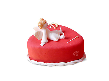 سفارش کیک فوندانت - کیک عاشقانه فرشته عشق | کیک آف