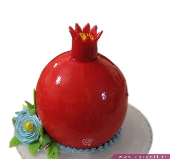 کیک شب یلدا-کیک انار گل آبی | کیک آف