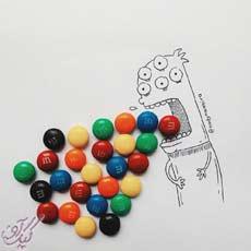 نقاشی با شکلات و بیسکویت