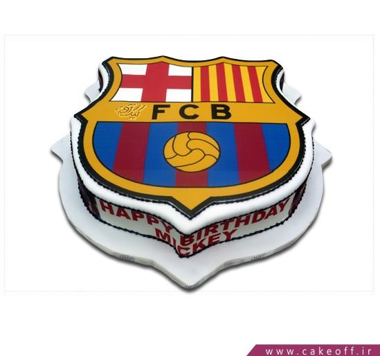 کیک تولد پسرانه - کیک تولد فوتبالی پرچم بارسلونا ۲ | کیک آف