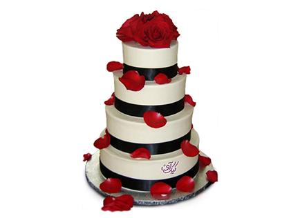 خرید انواع کیک عروسی - کیک عروسی گلبرگ | کیک آف