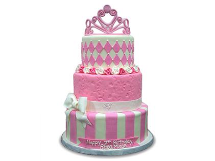 کیک تولد چند طبقه  - کیک تولد دخترانه تاج و تخت | کیک آف