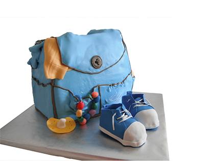 سفارش کیک تولد - کیک تولد بچه گانه کیف و کفش آبی | کیک آف