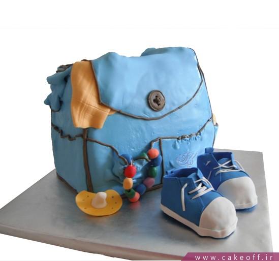 کیک تولد بچه گانه کیف و کفش آبی