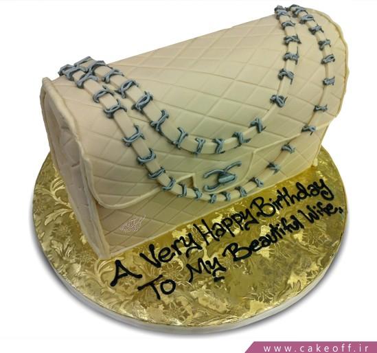 کیک تولد همسر - کیک تولد زنانه کیف صدفی | کیک آف