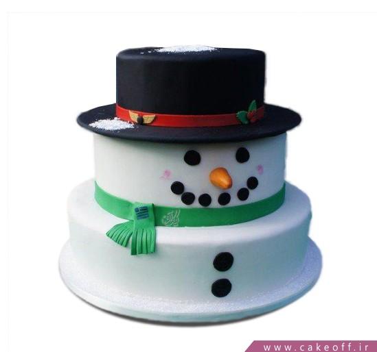 کیک آدم برفی کلاه دار