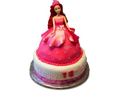 کیک تولد دخترانه - کیک باربی قرمز | کیک آف