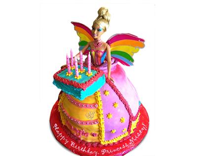 خرید کیک تولد دخترانه - کیک باربی رنگین کمان | کیک آف