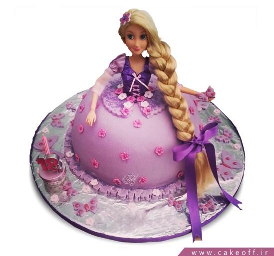 کیک تولد دخترانه - کیک دخترانه گیسو کمند | کیک آف