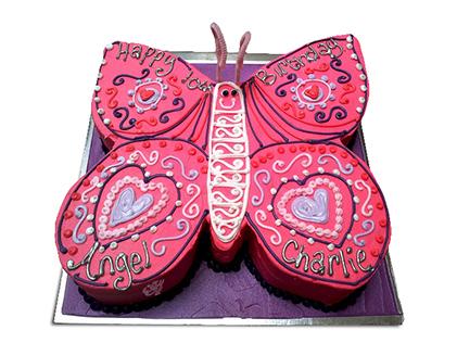 کیک تولد در اصفهان - کیک تولد دخترانه پروانه صورتی | کیک آف