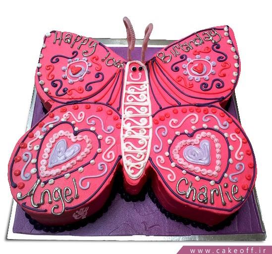 کیک تولد دخترانه پروانه صورتی