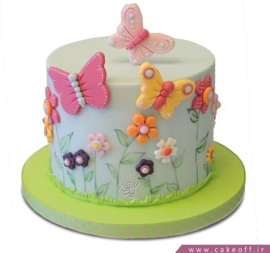 کیک تولد دخترانه باغ پروانه ها