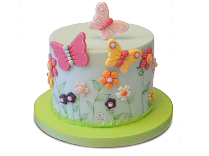 خرید کیک تولد - کیک تولد دخترانه باغ پروانه ها | کیک آف