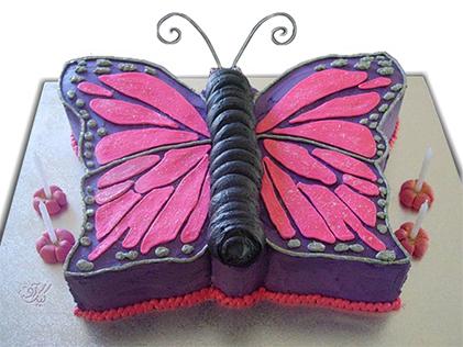 کیک تولد دخترانه - کیک تولد شاپرک | کیک آف