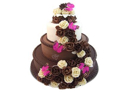 سفارش کیک عروسی - کیک عروسی گل و پروانه | کیک آف