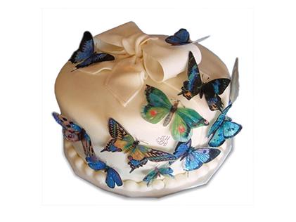 سفارش کیک اینترنتی - کیک فوندانت پروانه باران  | کیک آف
