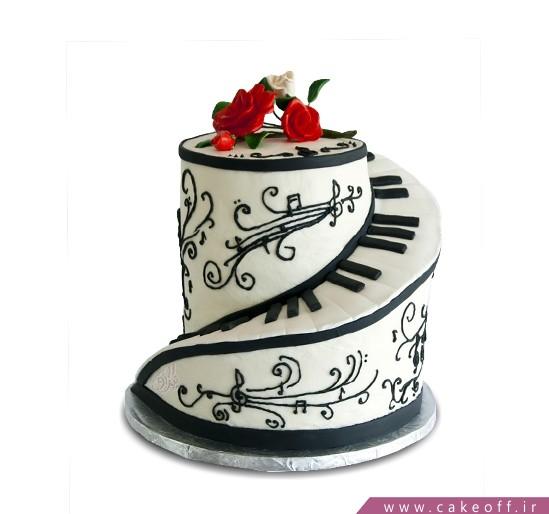 کیک تولد موسیقی - کیک تولد پیانو موزارت | کیک آف