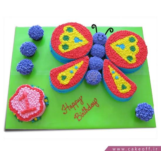 کیک تولد پروانه و کرم ابریشم