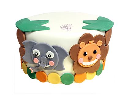 کیک تولد بچگانه - کیک کارتونی باغ وحش | کیک آف
