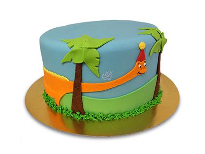 کیک تولد بچگانه - کیک کارتونی دایناسور ناقلا | کیک آف