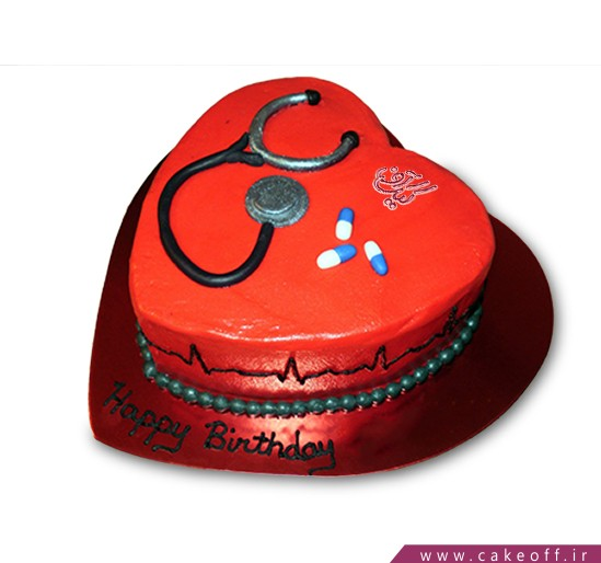 سفارش کیک روز پزشک - کیک قلب مهربان | کیک آف