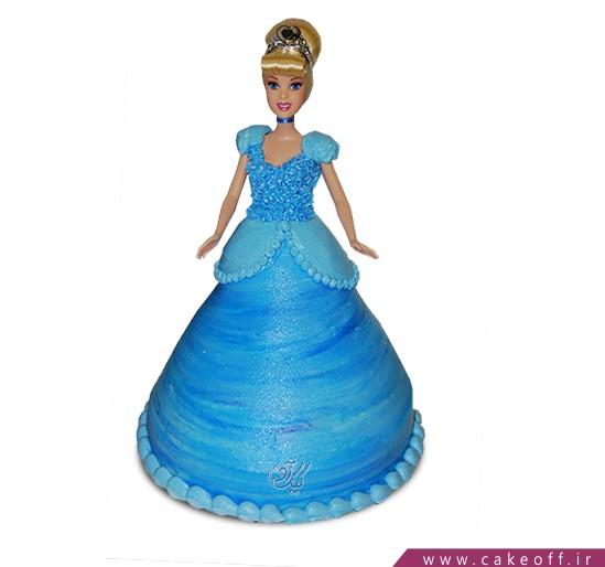 کیک تولد دخترانه - کیک سیندرلای آبی پوش | کیک آف