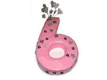 سفارش کیک تولد - کیک عدد شش قلب و ستاره | کیک آف