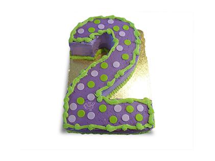 خرید کیک تولد در اصفهان - کیک عدد دو خال خالی | کیک آف