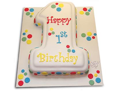 خرید اینترنتی کیک - کیک عدد یک خال خالی | کیک آف