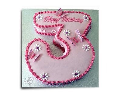 سفارش کیک اینترنتی - کیک عدد سه پروانه ای | کیک آف