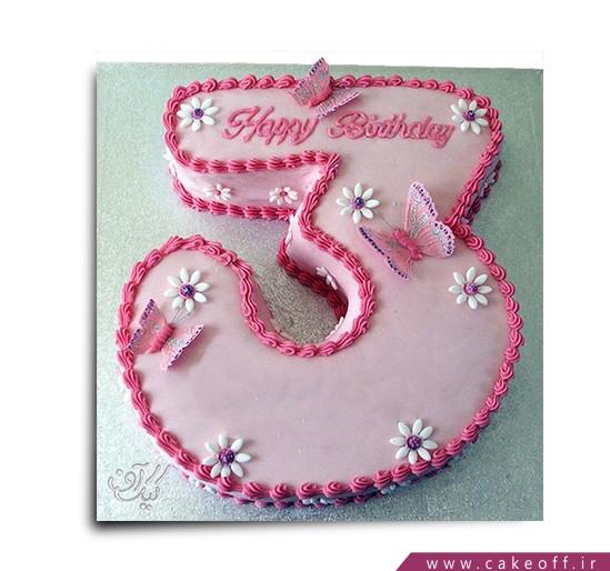 کیک عدد سه پروانه ای
