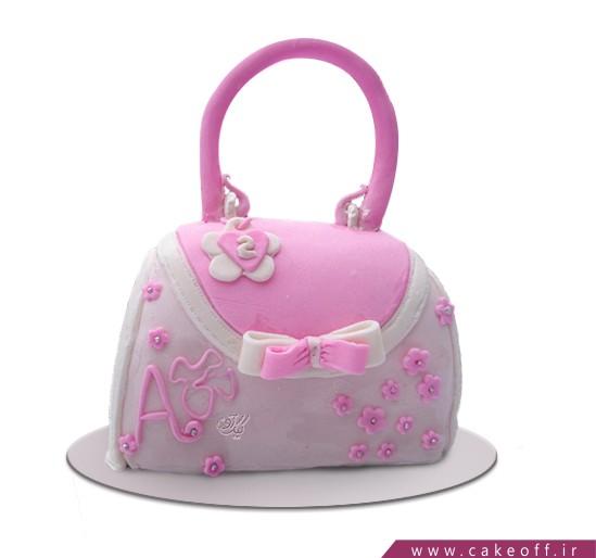 سفارش آنلاین کیک - کیک دخترانه کیف صورتی | کیک آف