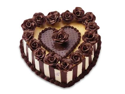 سفارش کیک سالگرد ازدواج در اصفهان - کیک قلب رز شکلاتی | کیک آف