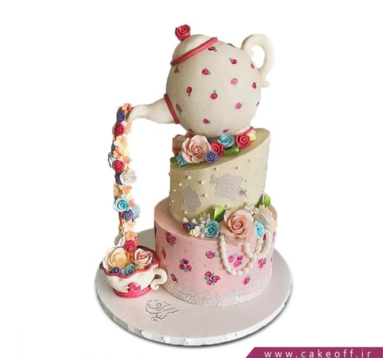 کیک ضد جاذبه - کیک قوری گل قرمزی | کیک آف